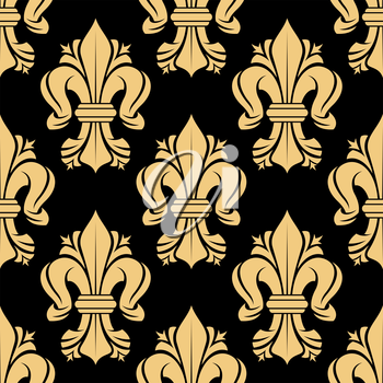 Royal french floral seamless pattern with beige  fleur-de-lis-flowers on black background, for luxury interior or textile design