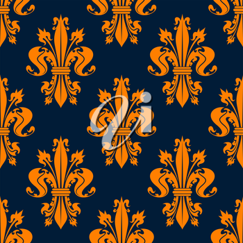Seamless victorian royal floral pattern with stylized orange fleur-de-lis flowers on dark blue background. May be used for wallpaper or interior design