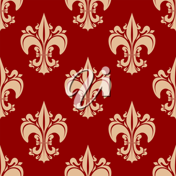 Beige victorian fleur-de-lis floral seamless pattern with decorative pointed leaves, flourishes on red background, for vintage textile or wallpaper design