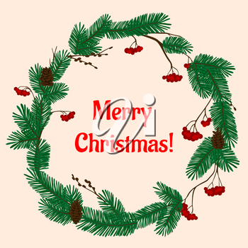 Decorative Christmas wreath with lush green fir branches, red viburnum berries and brown cones. With caption Merry Christmas
