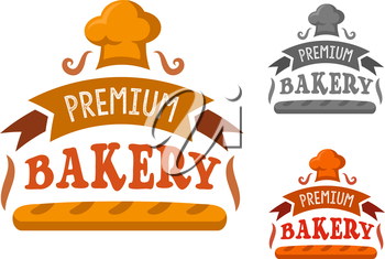 Bakery shop sign with fresh french baguette framed by ribbon banner with text and toque on the top. In orange, red and gray variations