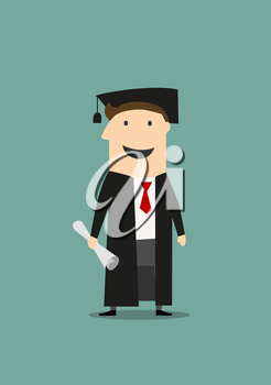 Cartoon happy student standing in black graduation gown and hat with diploma in hand. Education or graduation themes design