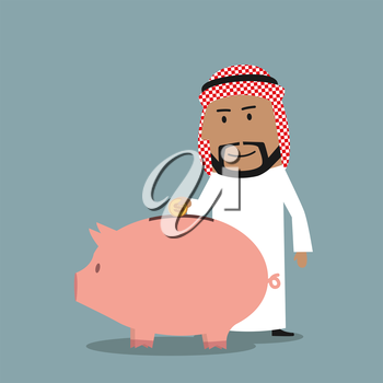 Smiling cartoon bearded arab businessman puts a golden dollar coin into piggy bank. Savings or investment concept