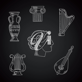 Art and musical instruments chalk icons with a lyre, amphora, column capital, mandolin, harp and woman head on blackboard