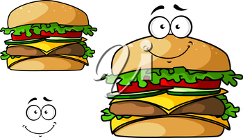 Fast food cheeseburger cartoon character with meat, cheddar, onions, tomatoes, lettuce leaves. For takeaway food menu design