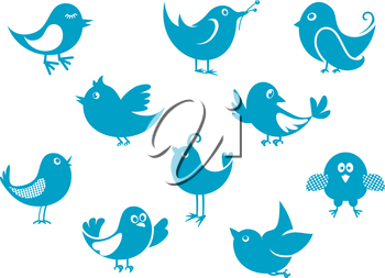 Set of cartoon cute little blue bird icons perched, flying and singing