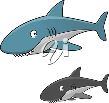 Funny cartoon toothy gray shark character with blue back and fins and open gills, for marine theme design