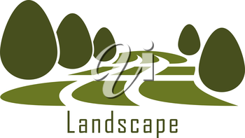 Modern urban park landscape icon with green grass lawn and trimmed bushes isolated on white background