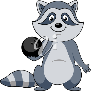 Funny cartoon raccoon player with black bowling ball isolated on white background. For sports or club mascot design
