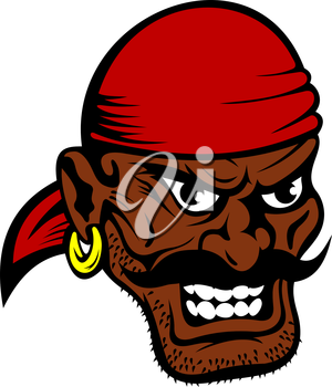 Fierce dark-skinned cartoon pirate wearing a red bandanna and earring in his ear with a black moustache and toothy evil grin