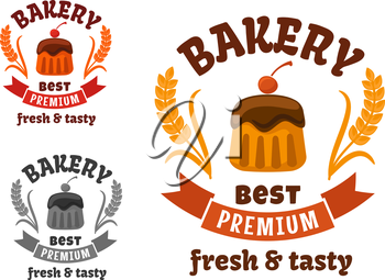 Premium bakery or pastry shop sign with chocolate cupcake, frosting and cocktail cherry, supplemented by wheat ears and ribbon banner
