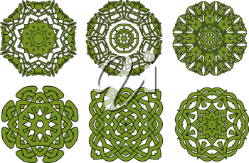 Circular green celtic knot patterns with floral ornamental elements, for tattoo or medieval themes design