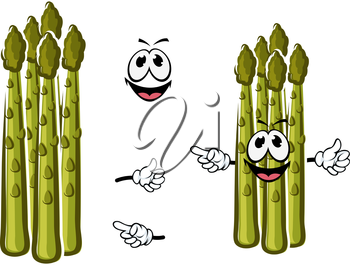 Fresh juicy green shoots of asparagus vegetable cartoon character with young tender buds and happy smiling face