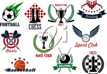 Sporting emblems for competitions in football or soccer, basketball, hockey, volleyball, golf, billiards, bowling, darts and chess with game items, wreaths and ribbon banners