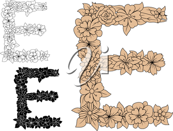 Vintage floral letter E in uppercase font, decorated by flowers and leaves, for monogram or font design