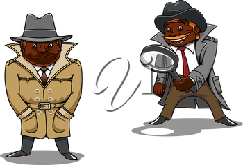 Funny smiling and serious black detectives or spy cartoon characters, one of them with magnifier in hand. For profession or investigation concept theme