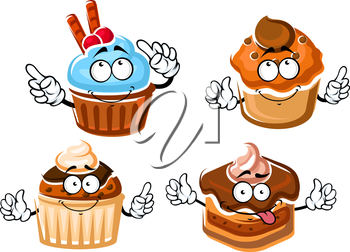 Cartoon delicious chocolate cake with ganache frosting, cupcake with mint cream, muffins with caramel and chocolate glaze. Dessert food menu design