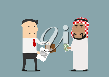 Cheerful cartoon arabian and european businessmen are exchanging money, part of business and briefcase after signing of contracts. International agreement and partnership concept usage