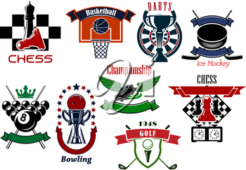 Sport game emblems and symbols in retro style for football or soccer, billiards, golf, ice hockey, chess, basketball, darts and bowling game design. Isolated on white
