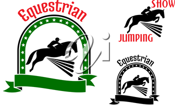 Equestrian sport symbols for show jumping or eventing design with riders and horses jumping over high hurdles. Framed by arch of stars, ribbon banner, text Equestrian or Show Jumping