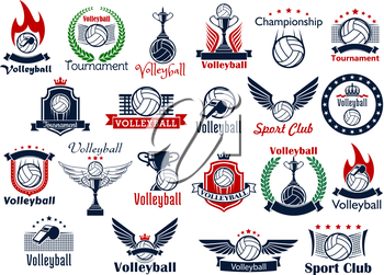 Volleyball sport game icons and symbols. Including many decorative elements as ball, net and whistle, laurel wreath and wings, fire and shield, trophy cup, crown and fire flame