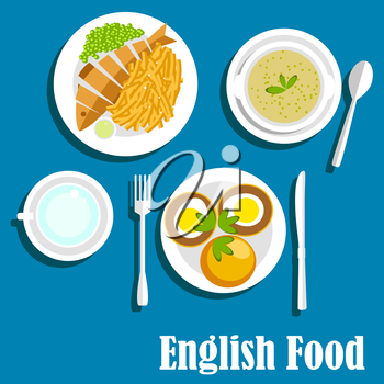 English cuisine main dishes served with whole fried fish, french fries and sauce, green pea soup, muffin egg sandwiches with herbs. Flat style
