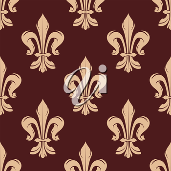 Beige and brown floral seamless pattern with french fleur-de-lis elements on dark brown background. For wallpaper and interior design