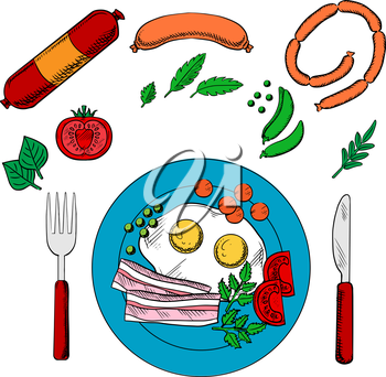 Cooked breakfast with fried eggs and bacon served on blue plate with cutlery surrounded by vegetables and sausage