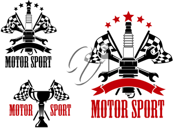 Motor race competition icons with trophy cup and spark plug, with crossed racing flags and spanners, decorated by stars, ribbon banners and text Motor Sport
