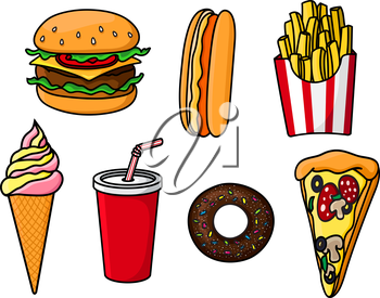 Cheeseburger with beef, cheese and vegetables, slice of pepperoni pizza, hot dog, sweet soda paper cup, french fries in striped box, chocolate donut topped with sprinkles and ice cream cone. Fast food