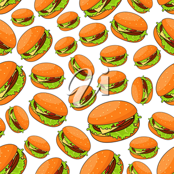 Fast food seamless pattern for takeaway restaurant menu, fast food cafe or street food design with fresh cheeseburgers and burger patty, tomatoes and cheese, lettuce on bun with sesame seeds