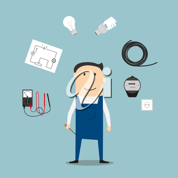 Electrician profession concept with worker encircled by energy saving and light bulbs, plug and socket, electricity meter and circuit breaker, multimeter