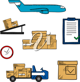 Air freight, transportation and shipping icons with cargo airplane and cardboard packages, airport truck and pallet conveyor, clock and clipboard with checklist