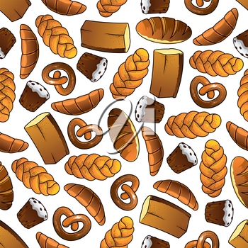 Appetizing bakery and pastry seamless pattern of golden long loaves and whole grain bread, glazed cupcakes with raisins, french croissants, salted pretzels and sweet buns with poppy seeds. Cafe and ba