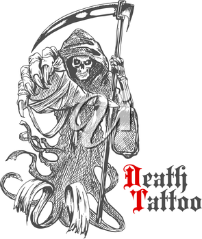 Terrible grim reaper or death with scythe character. Sketch of spooky skeleton wearing long hooded cape with reaper in bony hand. For tattoo, t-shirt print or Halloween design usage