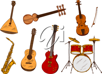 Classic and ethnic musical instruments sketches with drum set and saxophone, electric and acoustic guitars, violin, indian sarod and balalaika. Music, art festival poster or concert themes