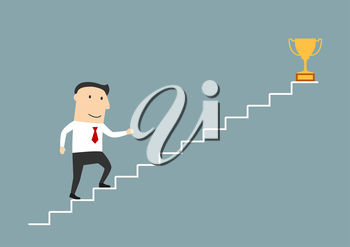 Successful cartoon smiling businessman walking up stairs to golden trophy as symbol of success. Use as stairs to success, goal achievement or leadership theme design