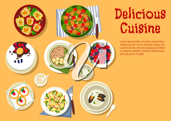 Delicious cuisine flat symbol with top view of festive dinner with vegetable salad with spicy pork, tofu pasta, creamy mussel soup, broccoli and apple salad with nuts, stuffed bell peppers, cake with