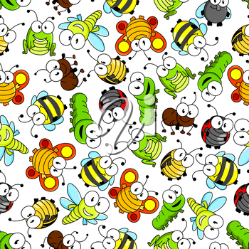 Funny cartoon insects characters seamless pattern with cute little bees and flies, sunny orange butterflies, bright green caterpillars, dragonflies and grasshoppers, striped bugs, shy ladybugs and bus