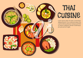 Popular dishes of exotic thai cuisine icon with flat symbols of spicy shrimp soup, green papaya salad, salmon steak, fried noodles with cashew nuts and fresh lime, spicy green curry, fried rice with p