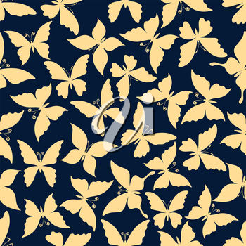 Flying butterflies romantic pattern. For fabric print or scrapbook page backdrop design with seamless yellow silhouettes of butterflies with gentle wings and curly antennae over blue background