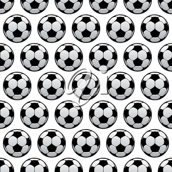 Sporting balls background for sport club, team or championship concept design usage with black and white seamless football or soccer balls pattern