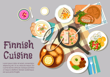 Finnish family sunday breakfast icon with flat symbols of creamy sausage sauce, meatballs with mashed potato, pickled herring with boiled potatoes and vegetable salad, karelian rice pies with egg butt