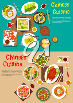 Healthy dinners of chinese cuisine flat icon with traditional peking duck and teriyaki shrimps, grilled and steamed fish with vegetables, noodles and rice topped with eggs and tofu, dumplings and spri