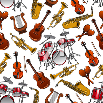 Cartoon shining brass trumpets and saxophones, orchestra drum sets, violins and guitars, vintage greek lyres and mexican maracas seamless pattern on white background. Arts and musical event design