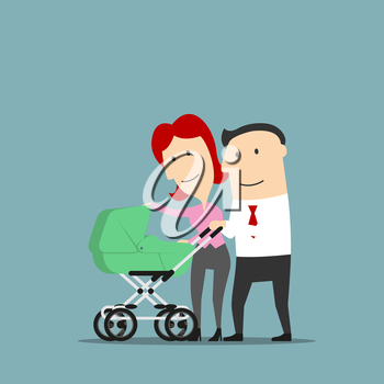 Father and mother smiling over baby carriage or buggy. Dad and mom couple with pram as cartoon characters. Conception of marriage and relationship, parents and child