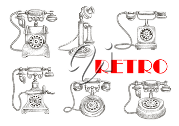 Sketch of retro or vintage telephones with rotary dial and old candlestick, earphone and switchhook. Obsolete and classic technology for communication and talking connected by wire via landline