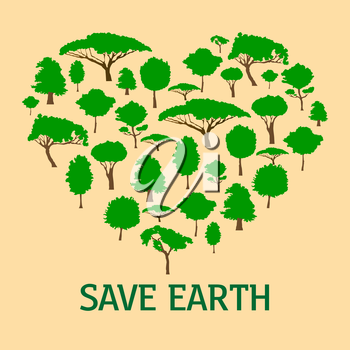 Heart in form of green trees. Concept of environment and ecology, save nature and planet, clean atmosphere