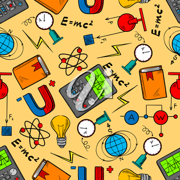 Science laboratory seamless pattern background with equipment for physics experiments, books, light bulbs, magnets and formulas, electrical circuits, models of atom and earth magnetic field