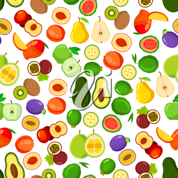 Fresh fruits seamless pattern with background of whole and halved apples, peaches, mangoes, plums, passion fruits, guavas, pears, kiwis, avocados, feijoas and durian fruits. Flat style